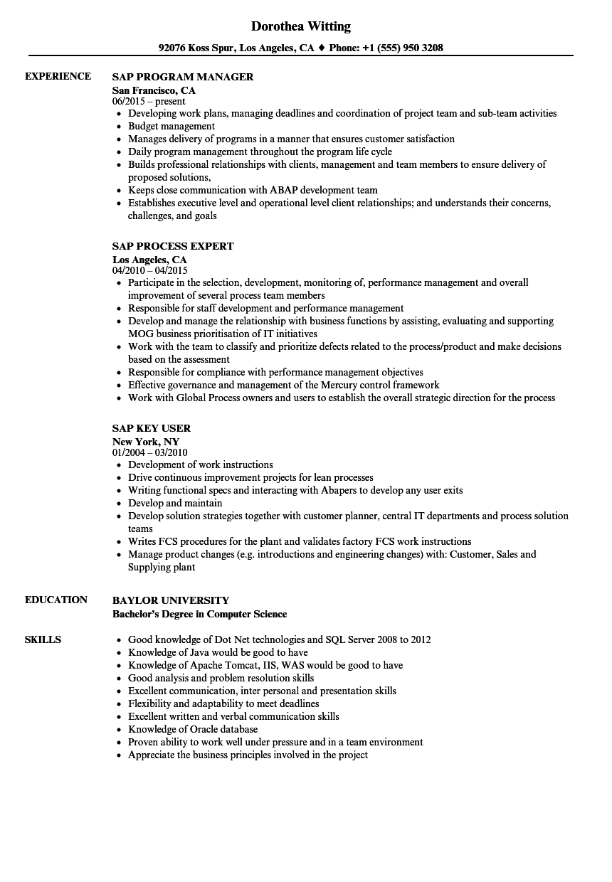 sap resume samples
