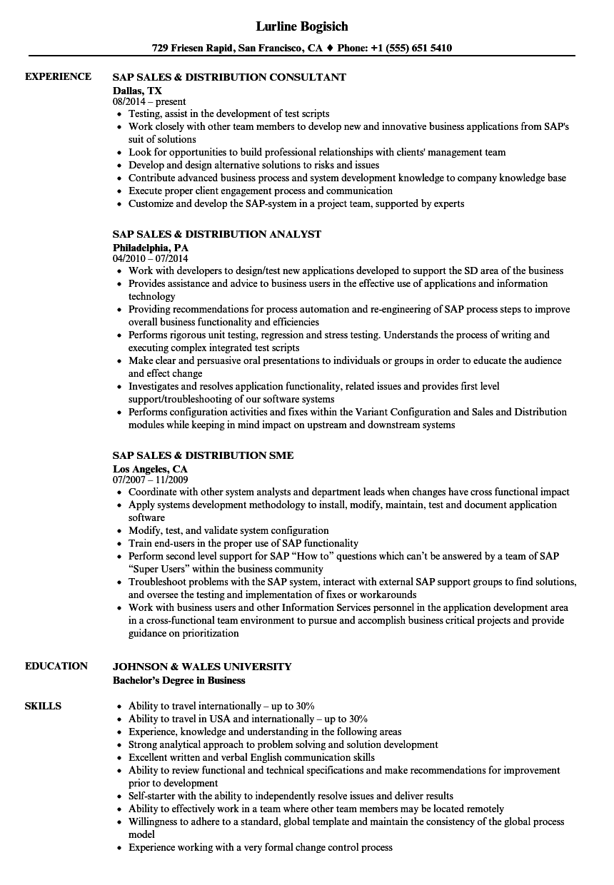 SAP Sales  amp  Distribution Resume
