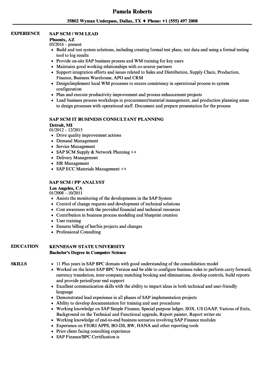 sap scm resume samples
