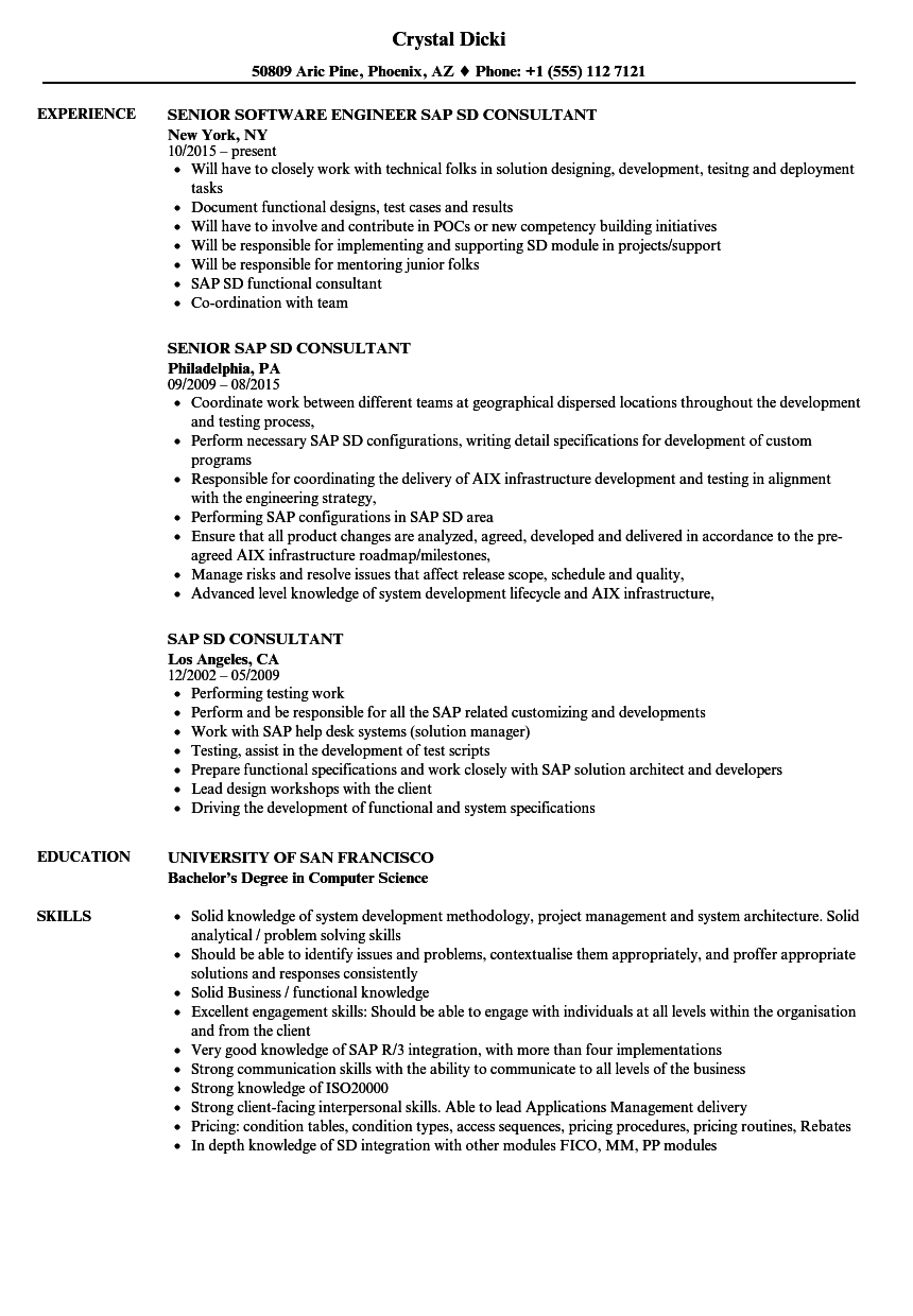 Sample resume for sap sd freshers.