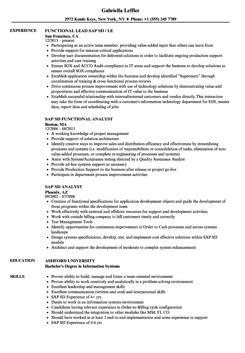 sap sd resume samples