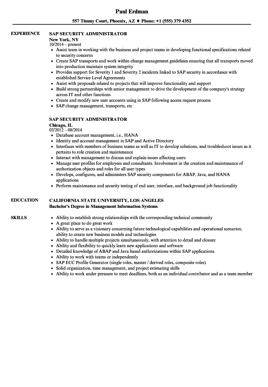 SAP Security Administrator Resume Samples | Velvet Jobs
