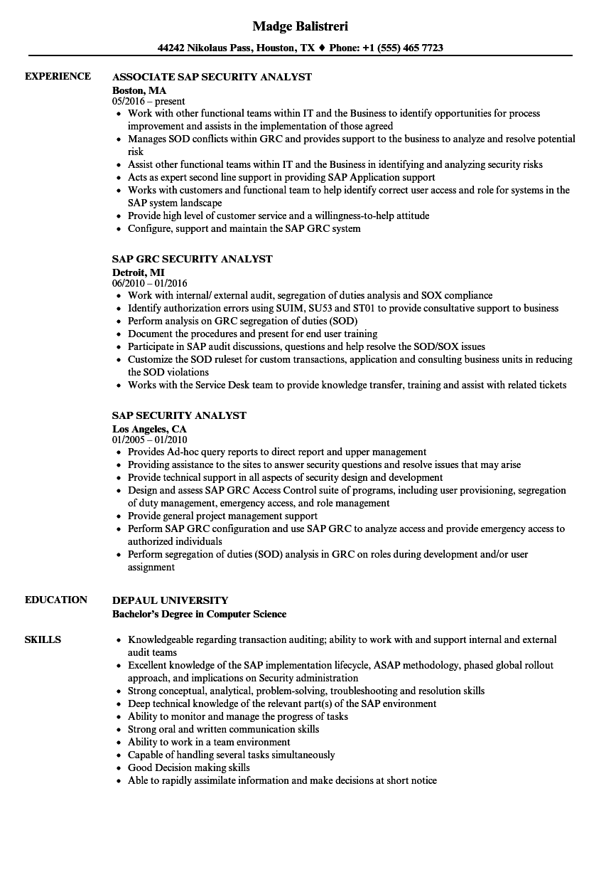 sap security analyst resume samples