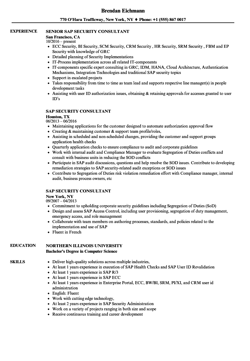 SAP Security Consultant Resume Samples | Velvet Jobs