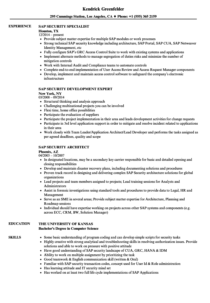 SAP Security Resume Samples | Velvet Jobs