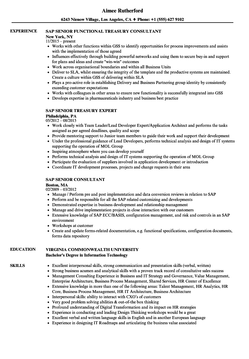 SAP Senior Resume Samples | Velvet Jobs