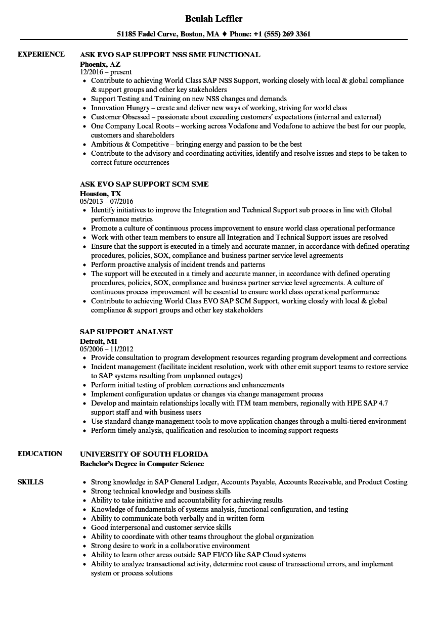 Sap Support Resume Samples | Velvet Jobs