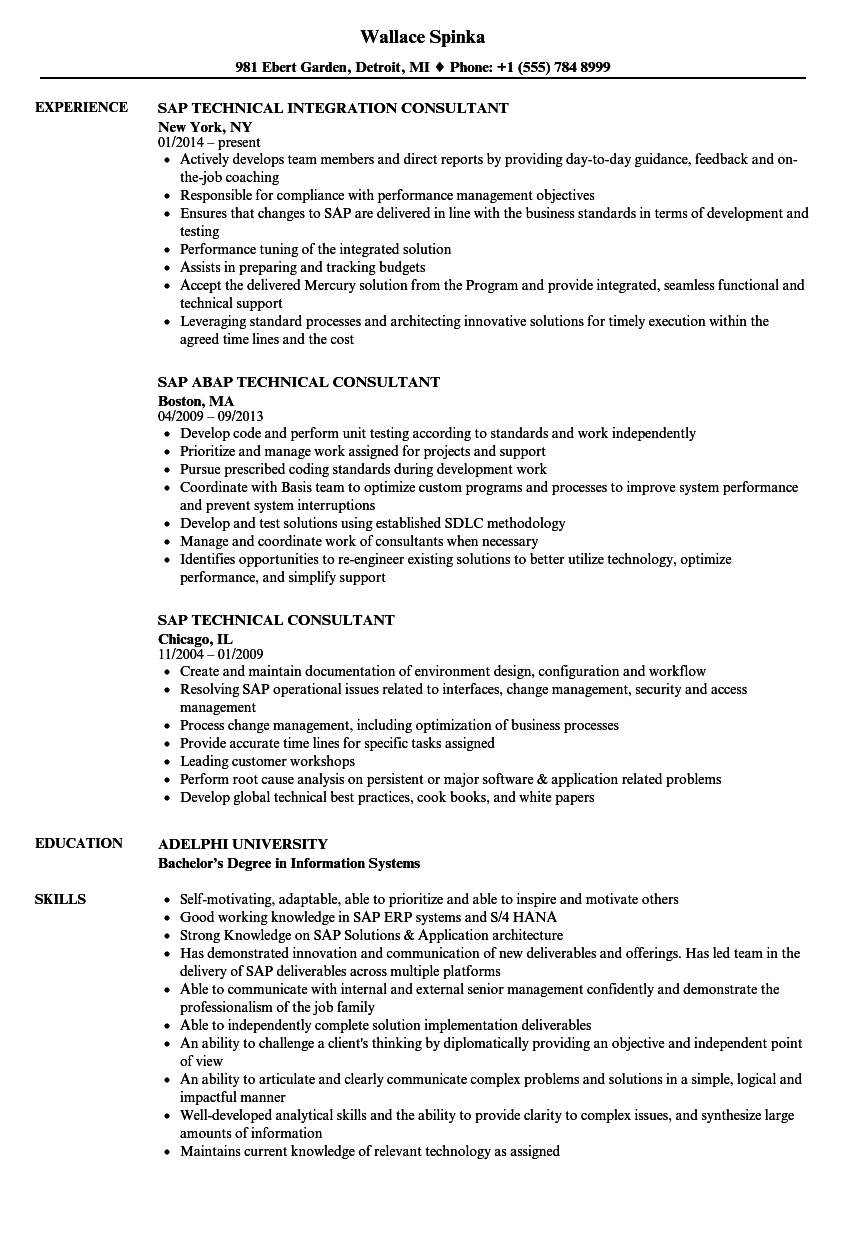 sap technical consultant resume samples