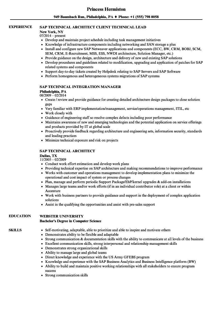 SAP Technical Resume Samples | Velvet Jobs