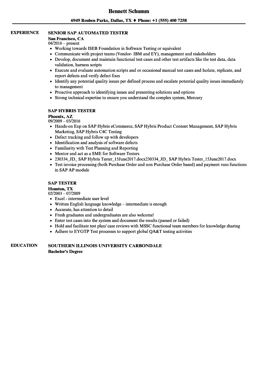 SAP Tester Resume Samples Velvet Jobs - Resume examples for undergraduates