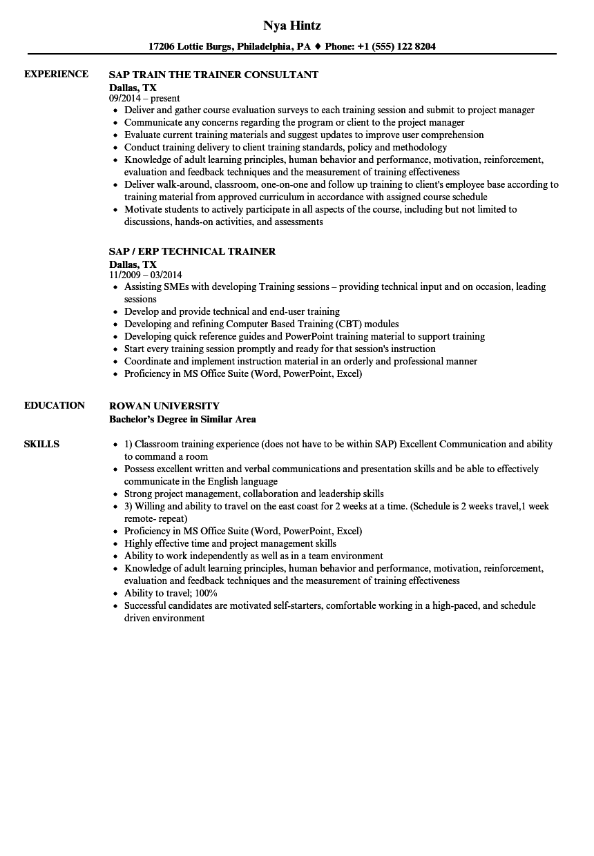 Sap Trainer Resume Samples Velvet Jobs