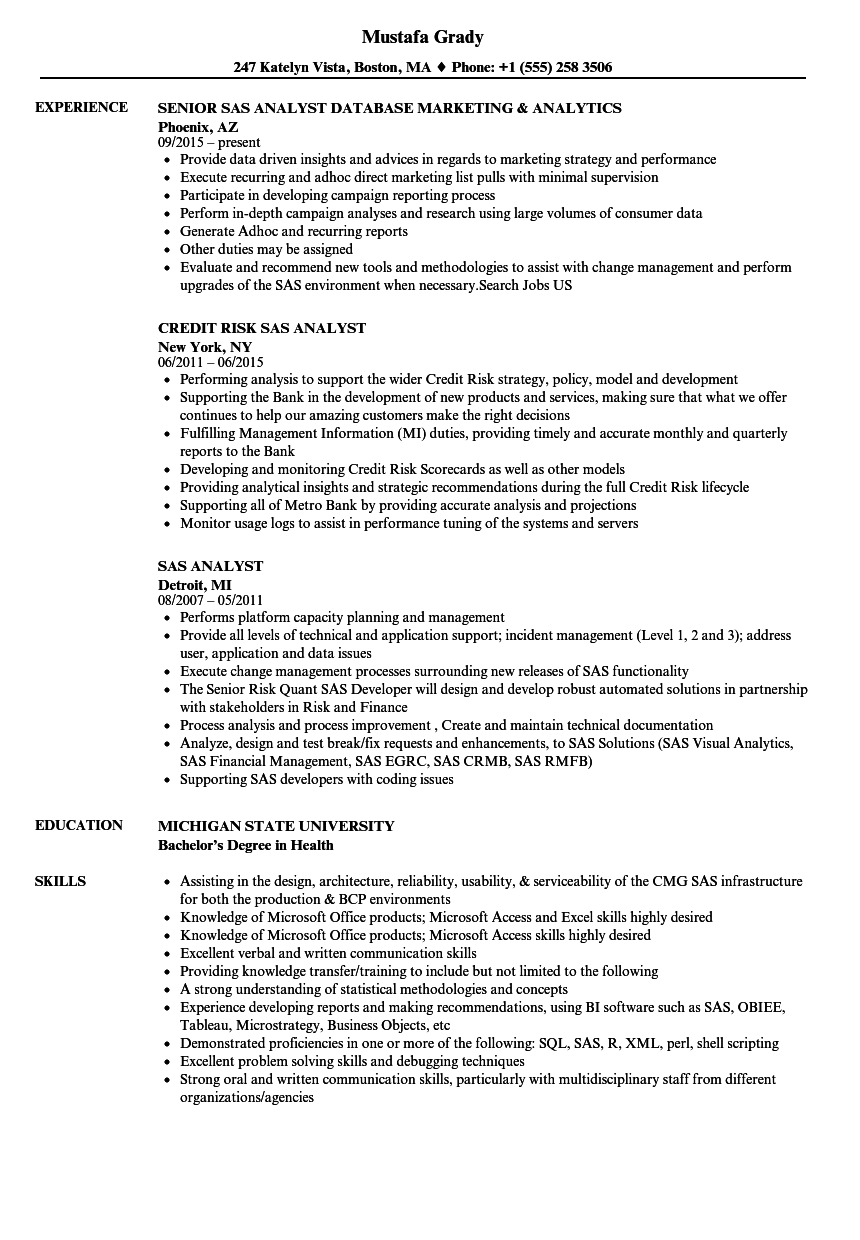 sas analyst resume samples velvet jobs