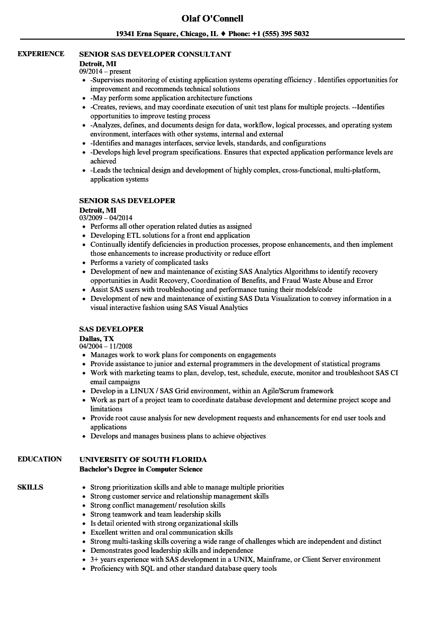sas developer resume samples velvet jobs