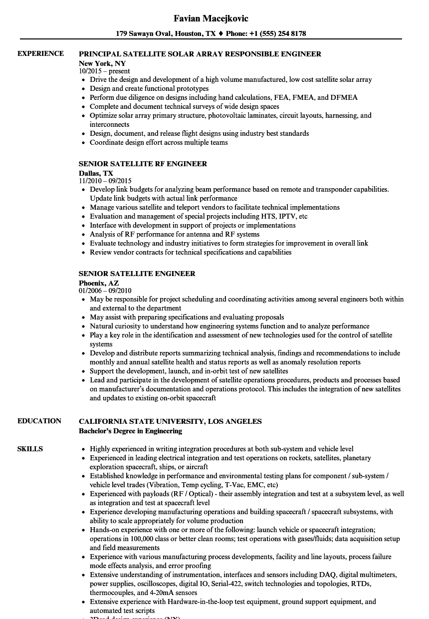 satellite engineer resume samples