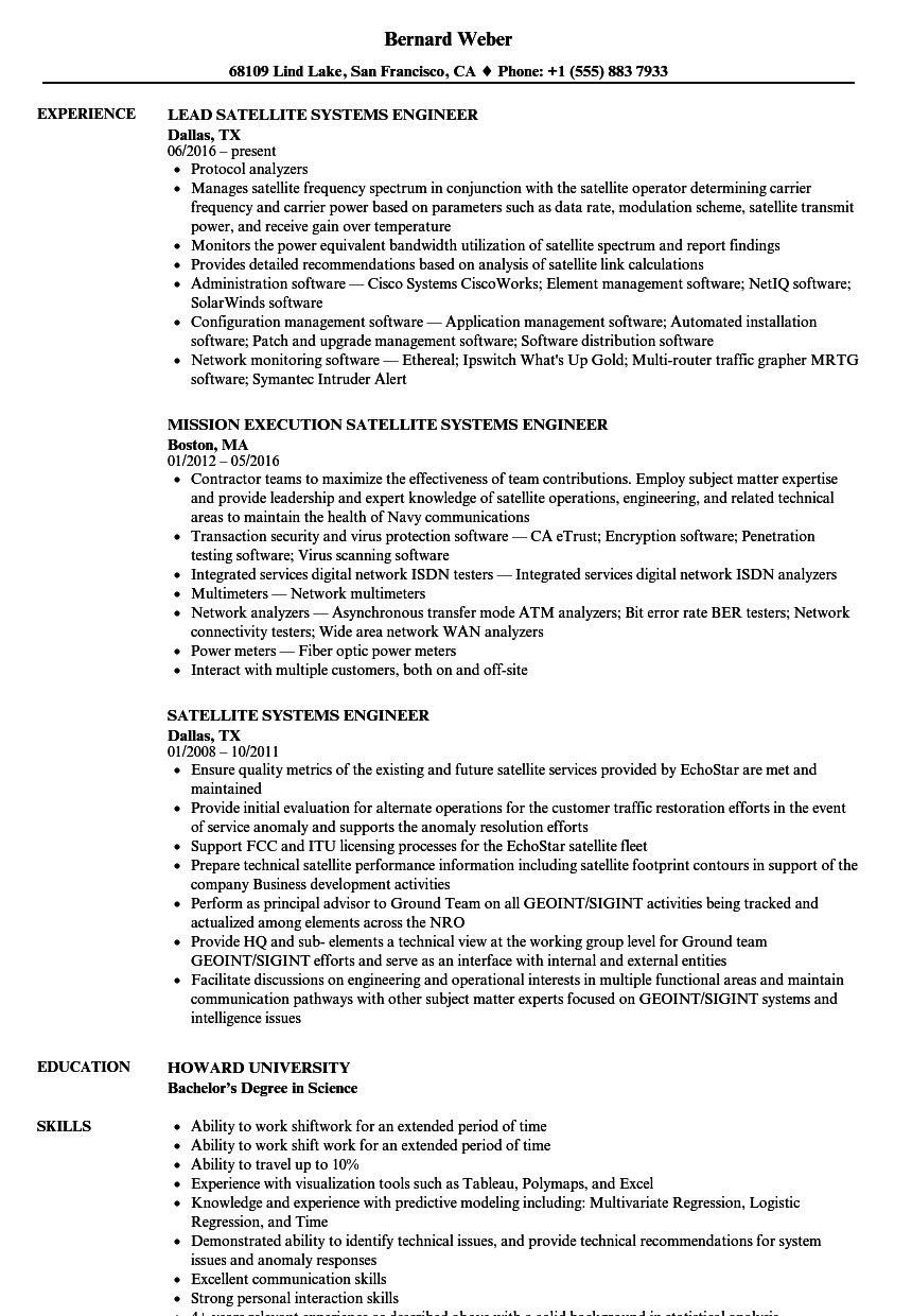 Satellite Systems Engineer Resume Samples | Velvet Jobs