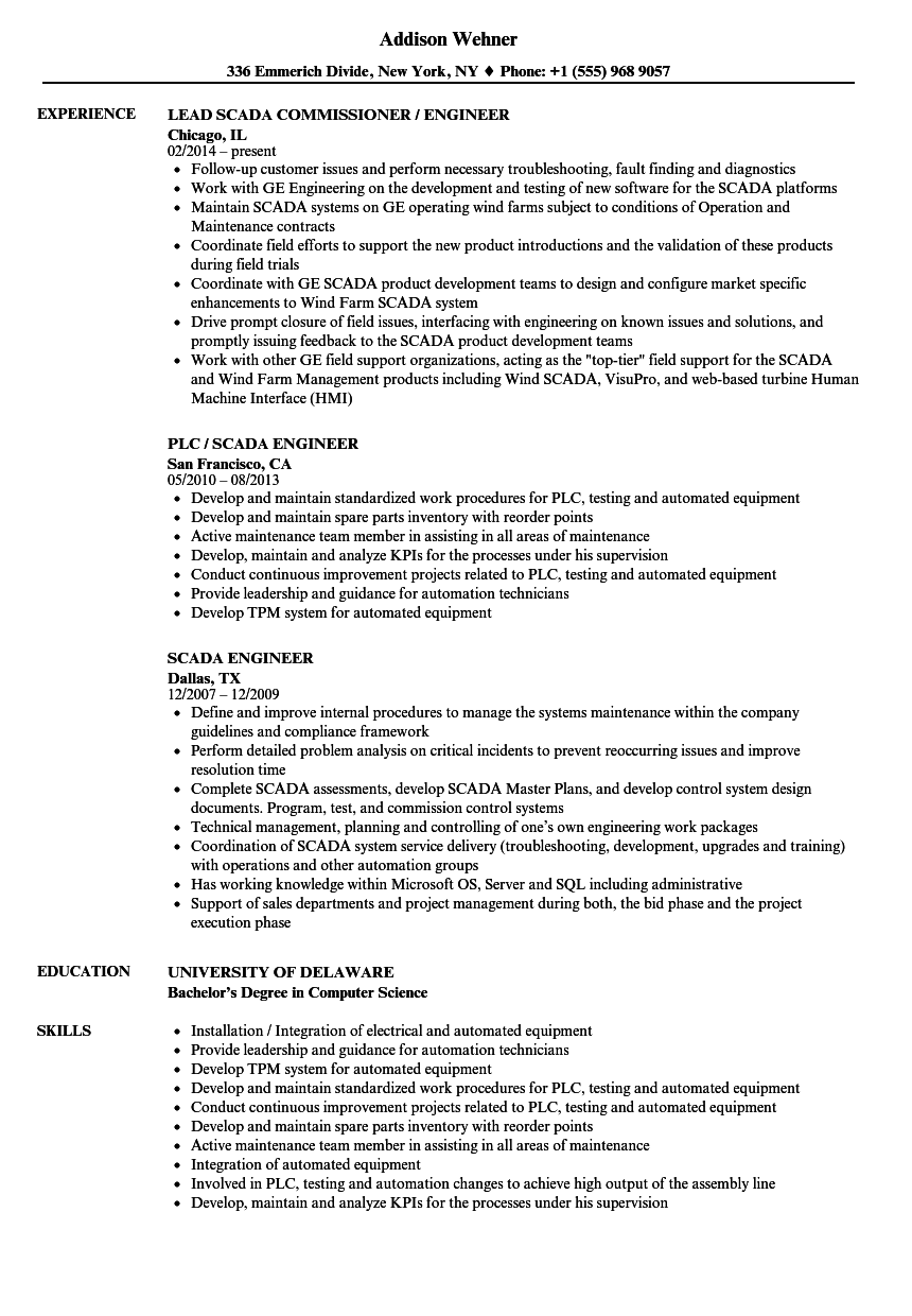 Scada Engineer Resume Samples Velvet Jobs