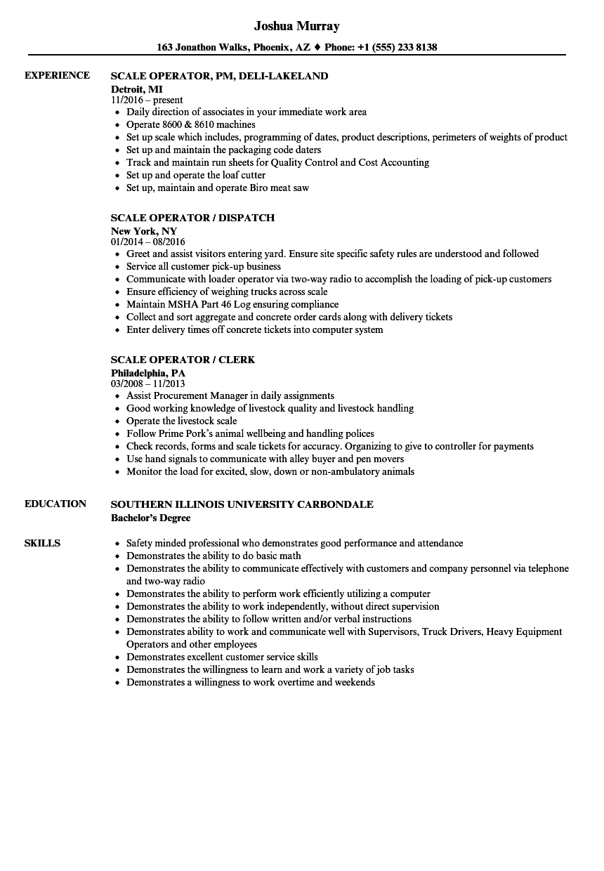 Scale Operator Resume Samples Velvet Jobs