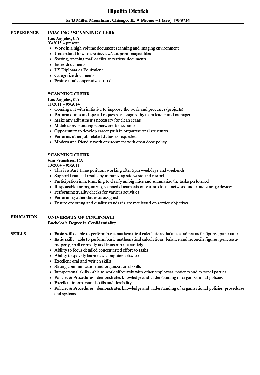 scanning clerk resume samples