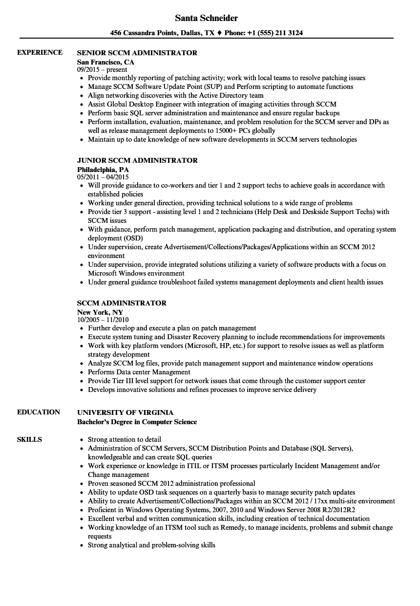 Sccm Administrator Resume Samples | Velvet Jobs