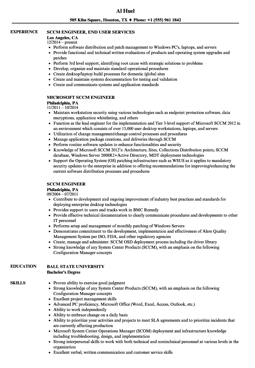 Sccm Engineer Resume Samples Velvet Jobs