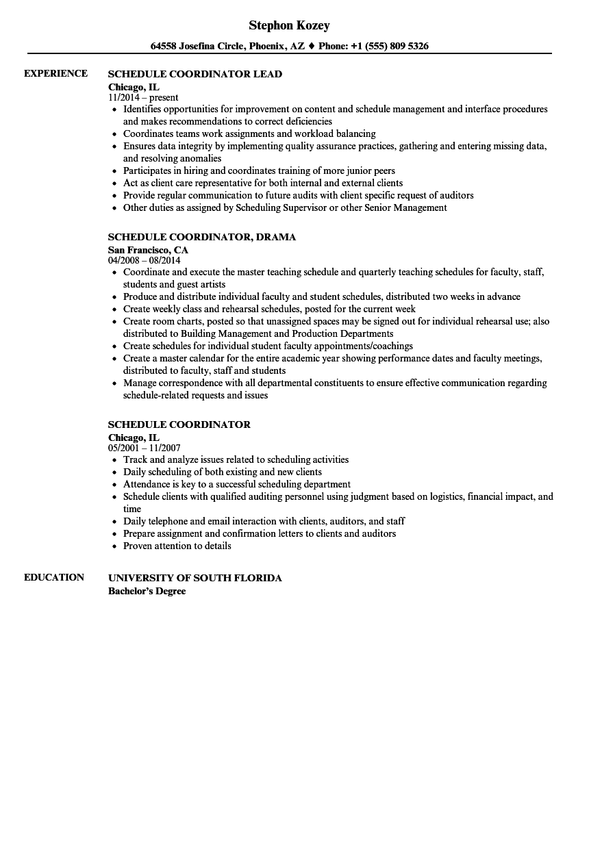 schedule coordinator resume samples