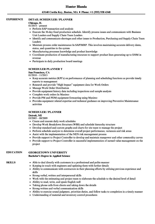 Sample resume planner scheduler email cover letter samples it