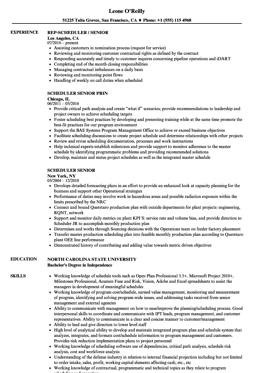 scheduler senior resume samples