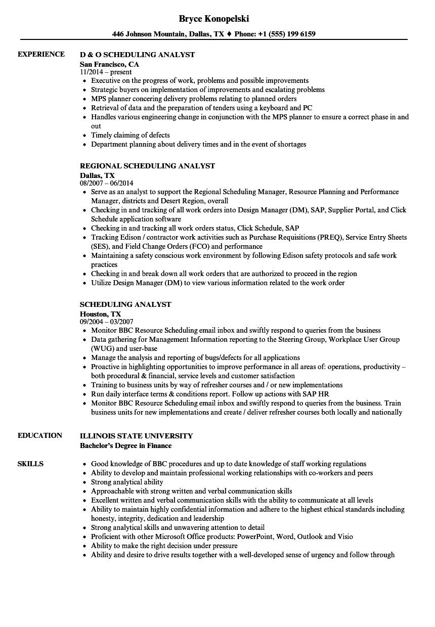 scheduling analyst resume samples
