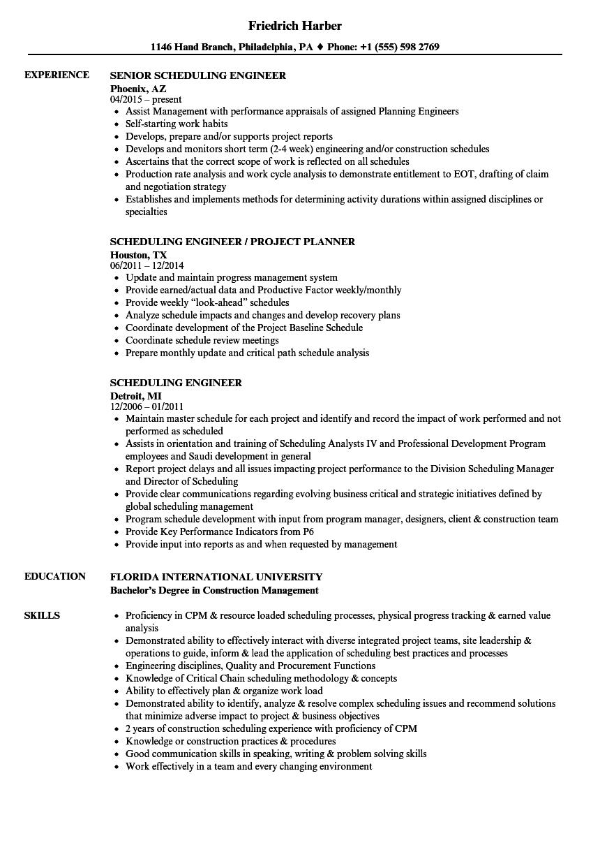 scheduling engineer resume samples