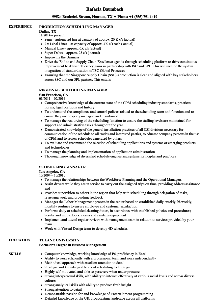 scheduling manager resume samples