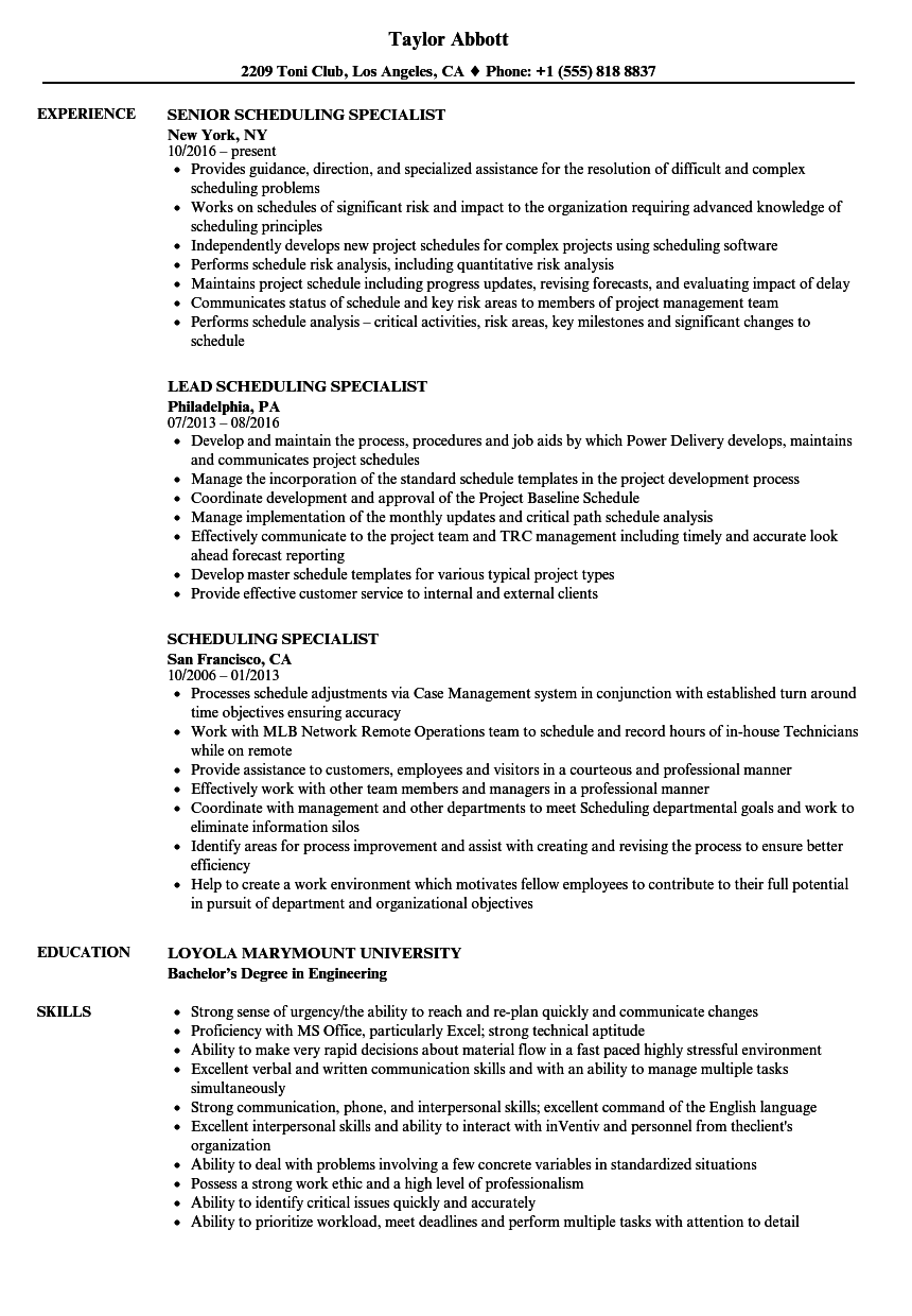scheduling specialist resume samples