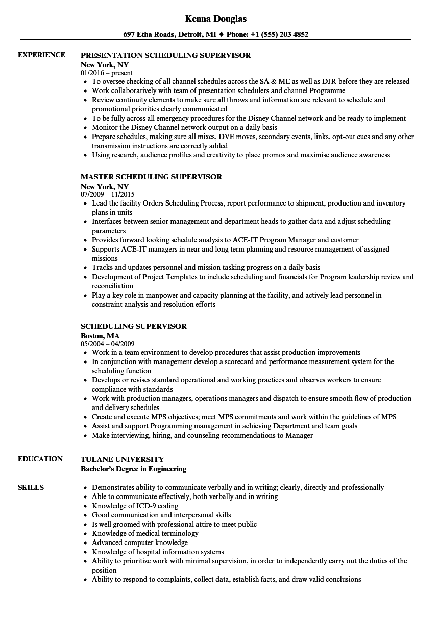 Scheduling Supervisor Resume Samples | Velvet Jobs