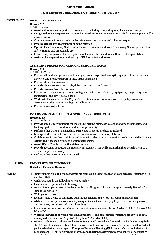 scholar resume samples