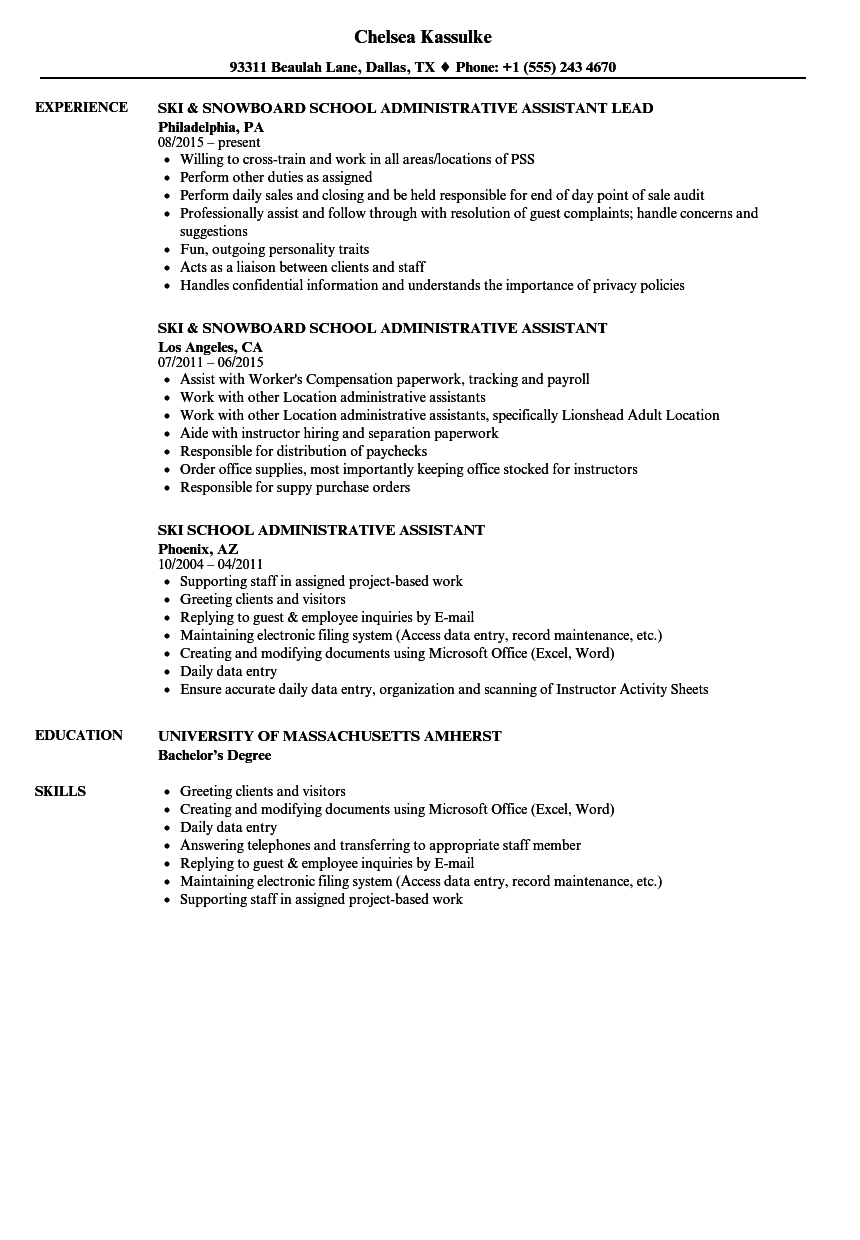 school administrative assistant resume samples
