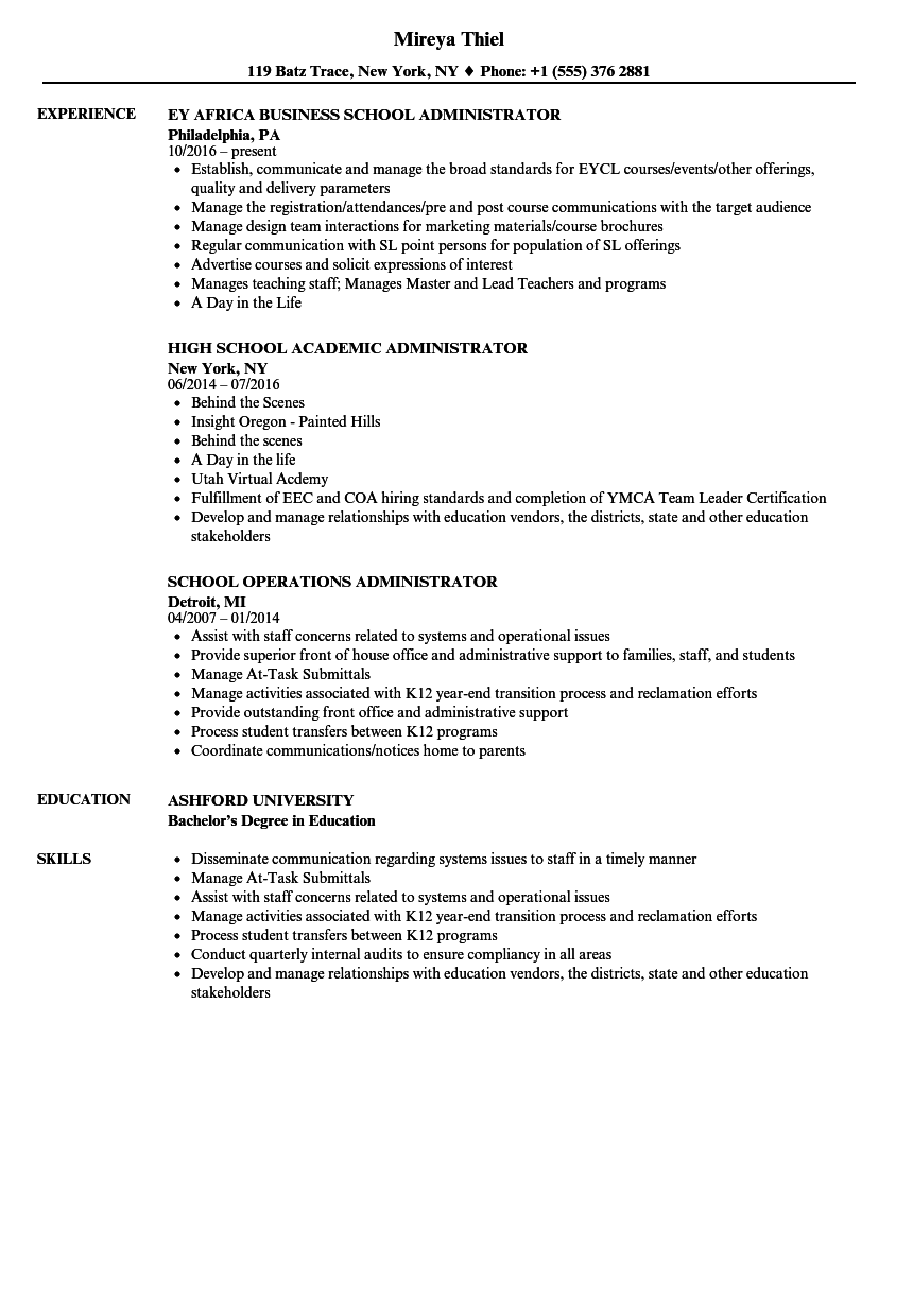 School Administrator Resume Samples Velvet Jobs