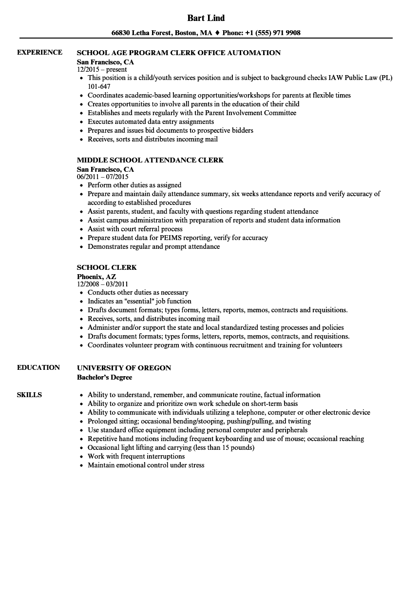 School Clerk Resume Samples | Velvet Jobs