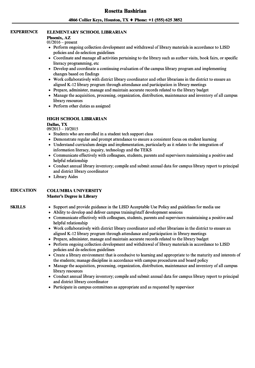 School Librarian Resume Samples Velvet Jobs