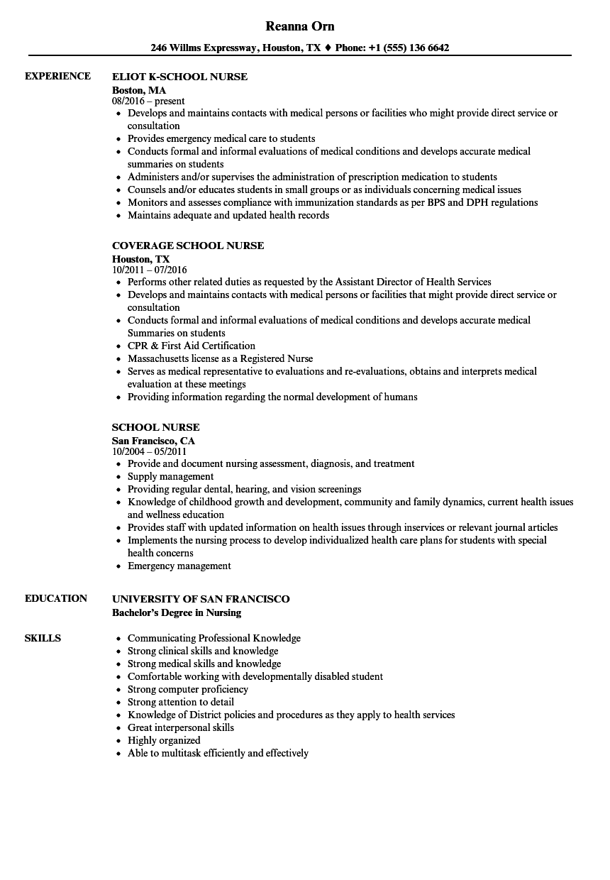 School Nurse Resume Samples Velvet Jobs - Sample resume for nurses skills