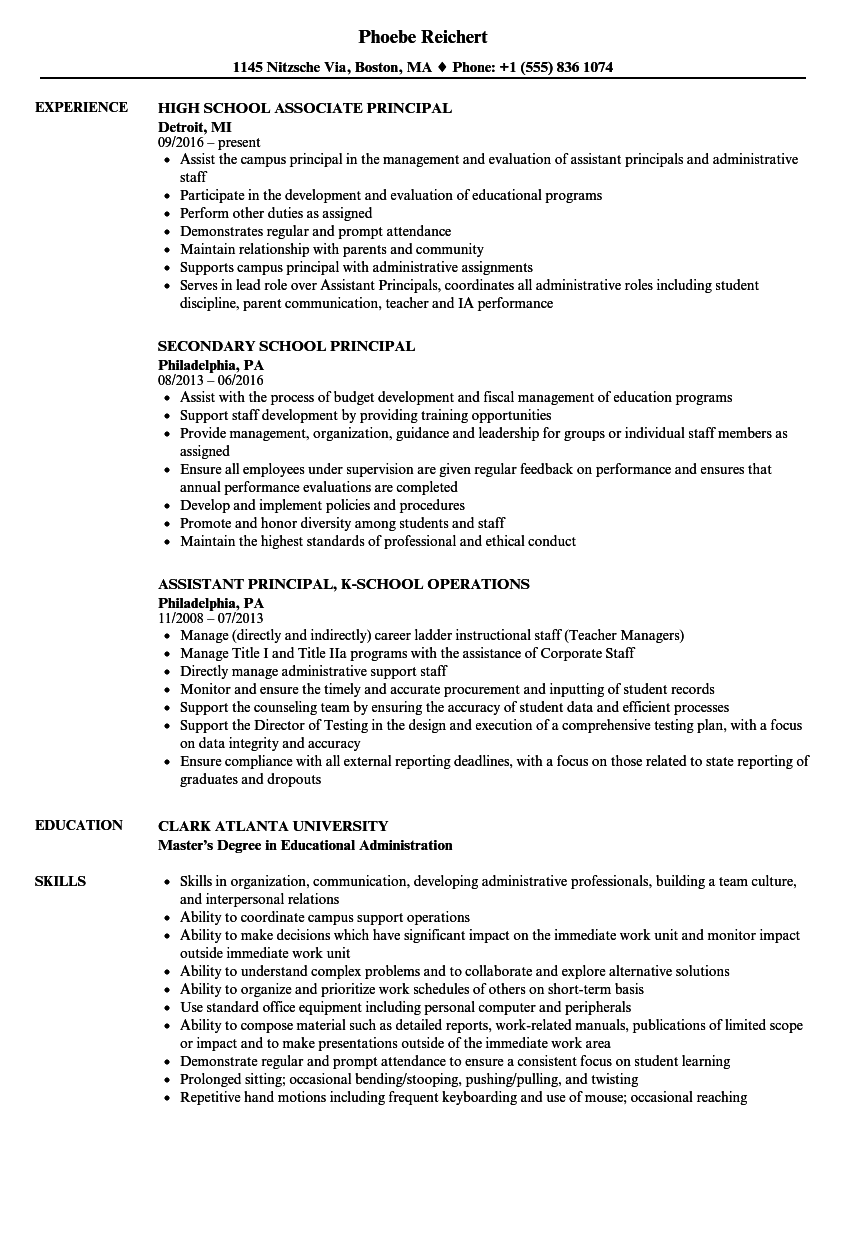 download school principal resume sample as image file - Resume Samples For Education Administration