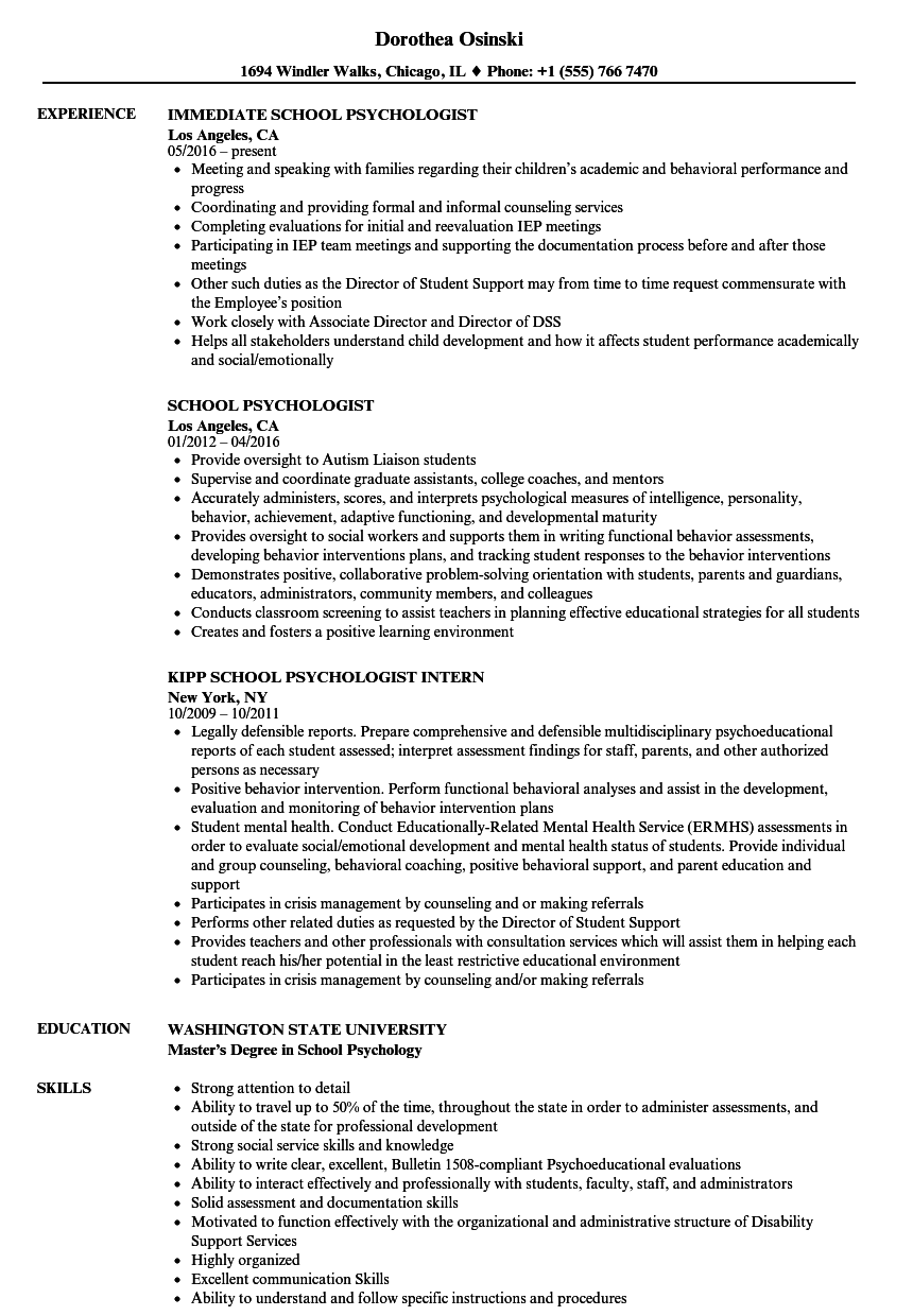 download school psychologist resume sample as image file - School Psychologist Resume