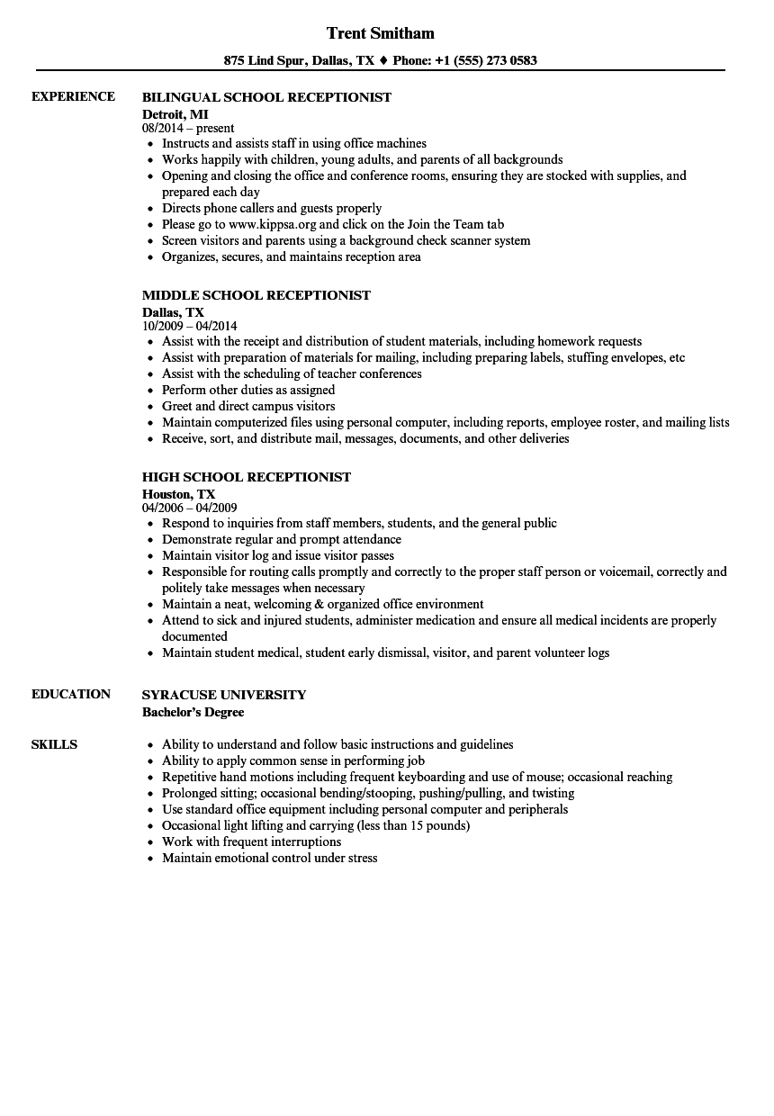 receptionist duties resume  School Receptionist Resume Samples | Velvet Jobs