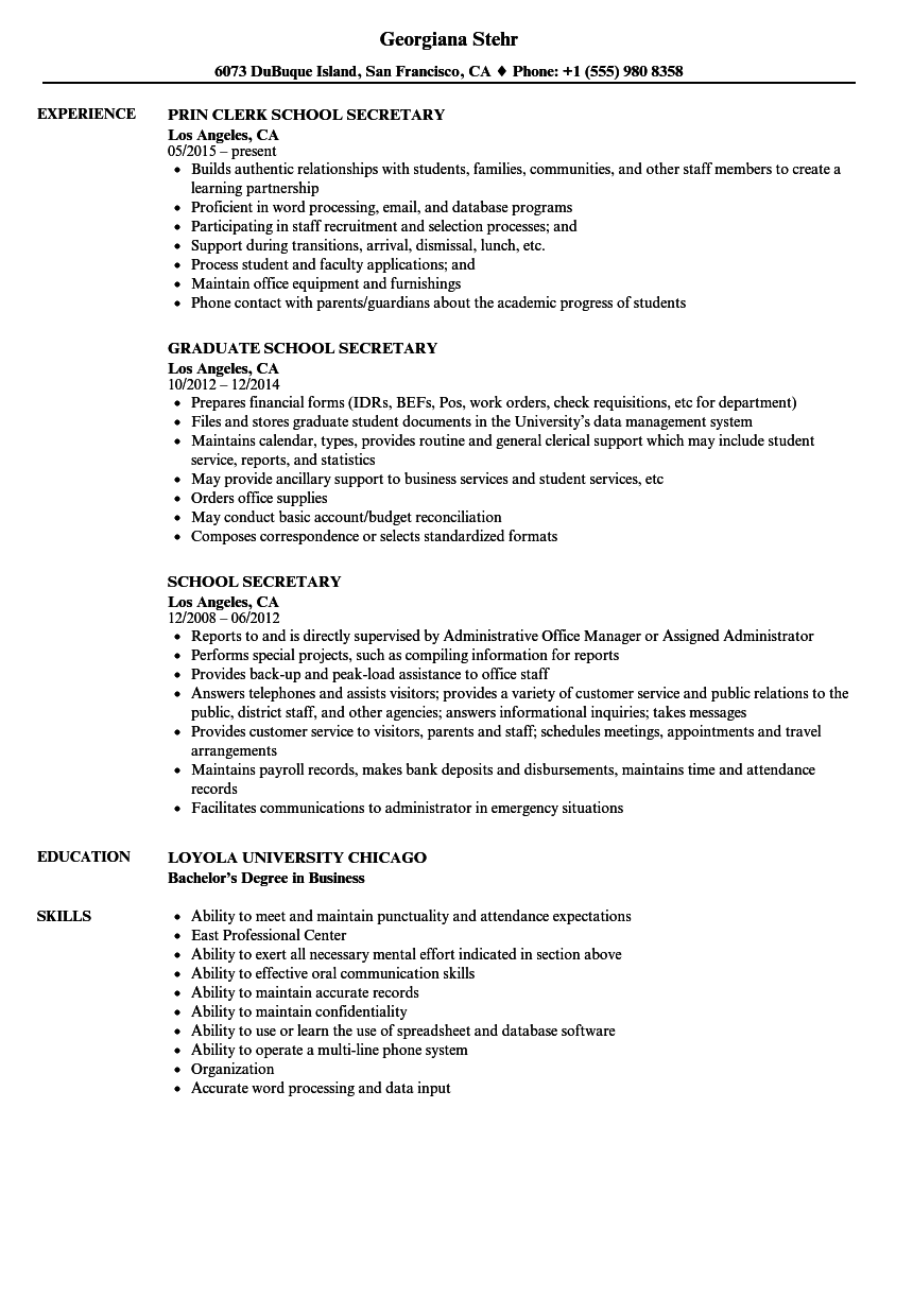 download school secretary resume sample as image file - Secretary Resume Sample