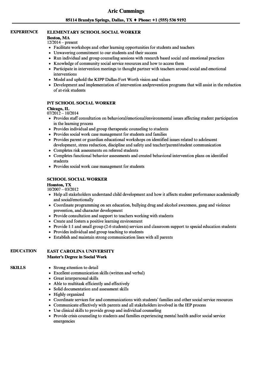 school social worker resume samples