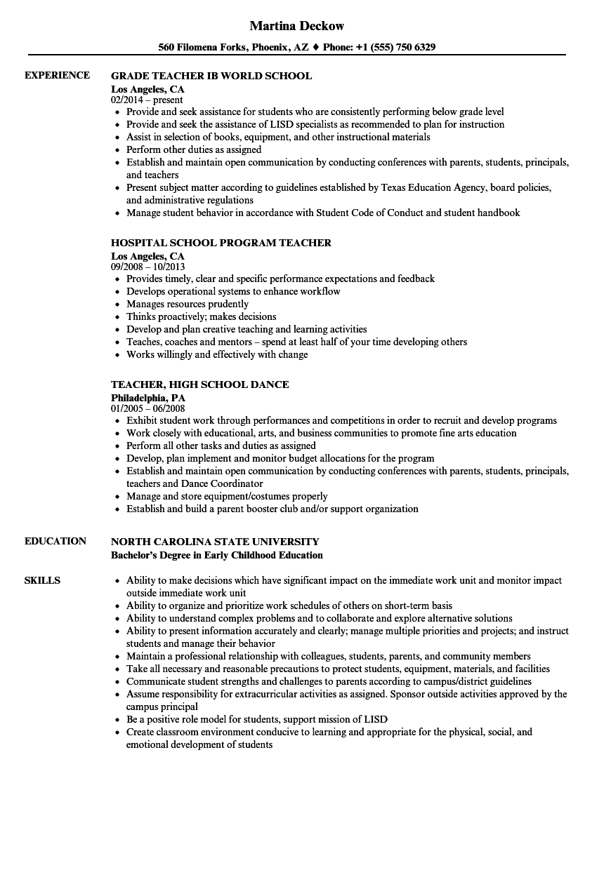 School Teacher Resume Samples Velvet Jobs