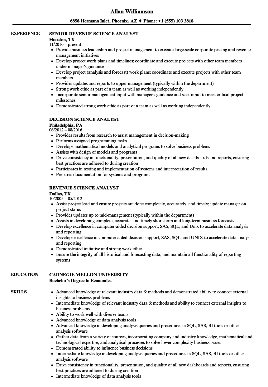 science analyst resume samples