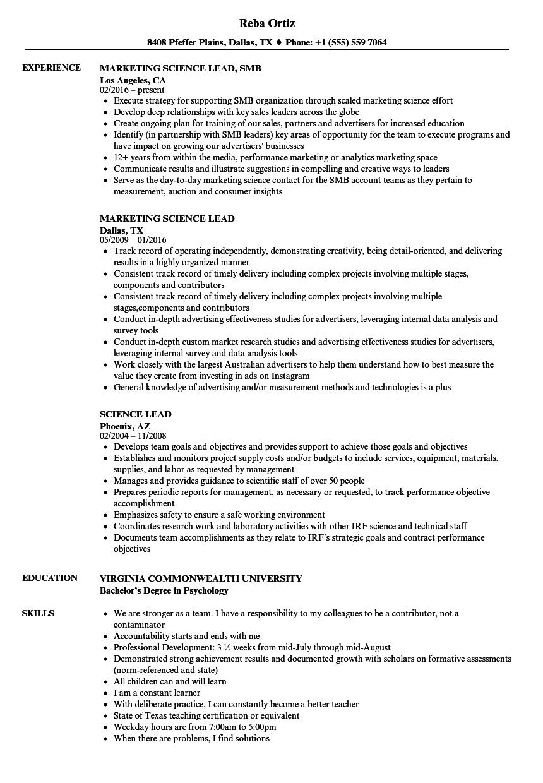 download science lead resume sample as image file - Resume Food Science Sample