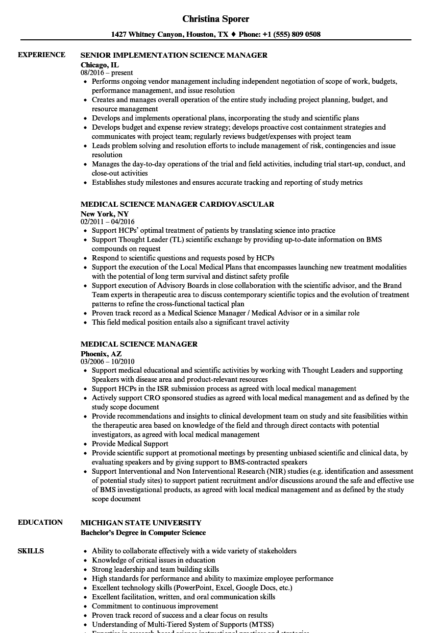 Science Manager Resume Samples | Velvet Jobs