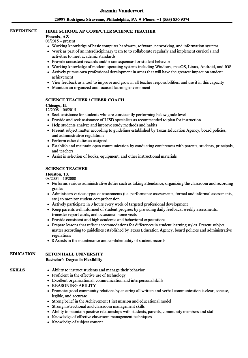 Science Teacher Resume Samples Velvet Jobs