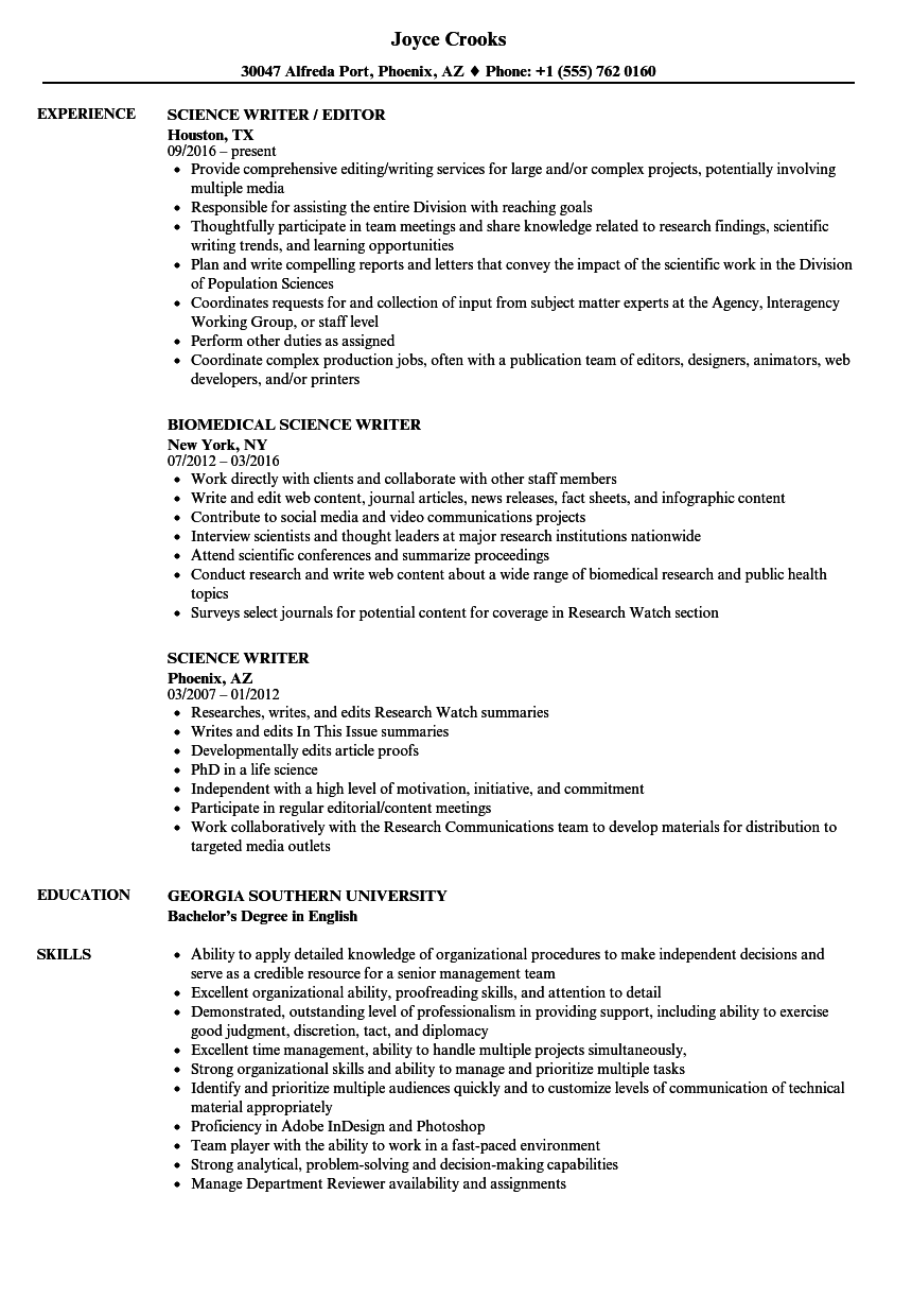 Science Writer Resume Samples | Velvet Jobs