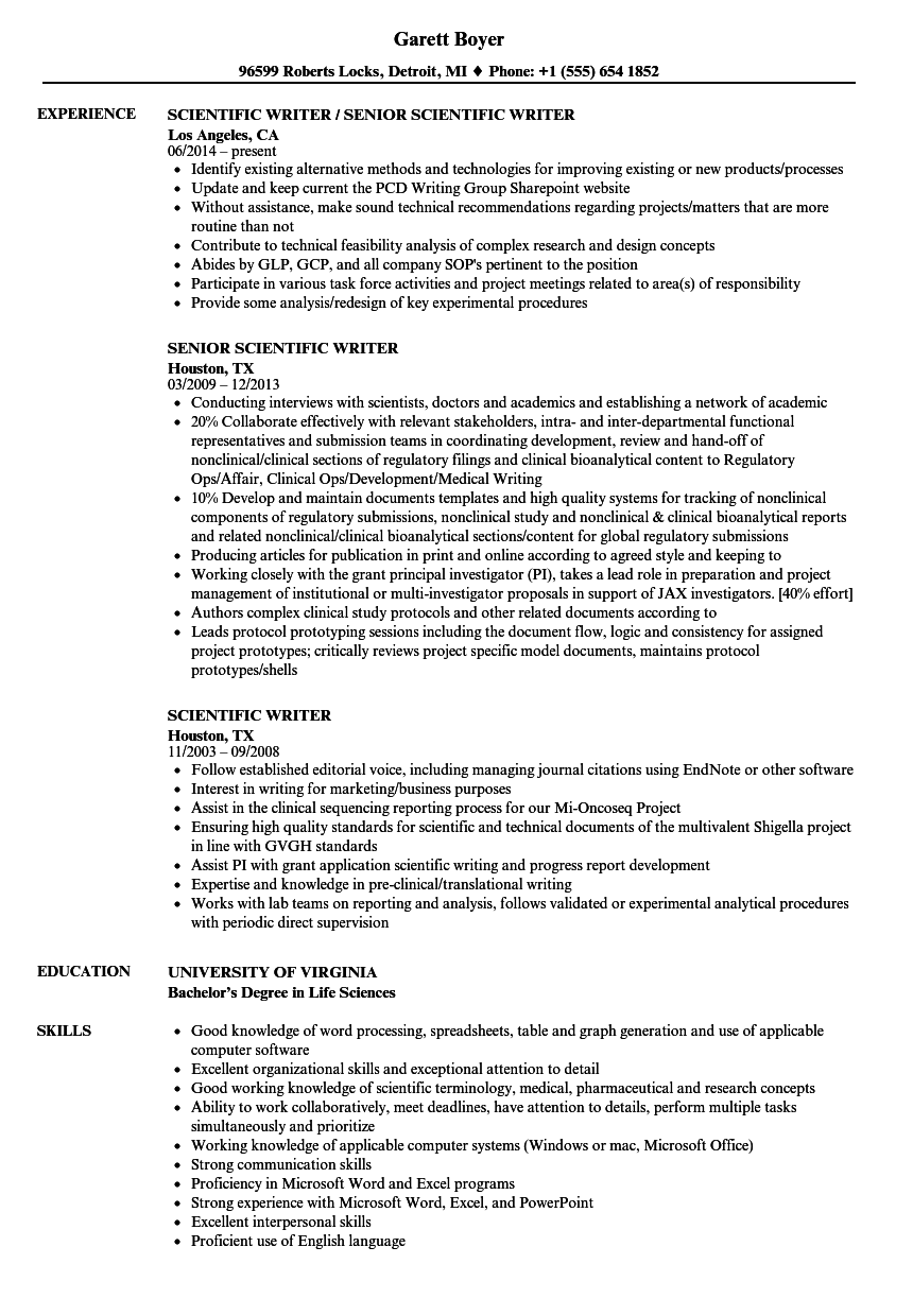Scientific Writer Resume Samples | Velvet Jobs